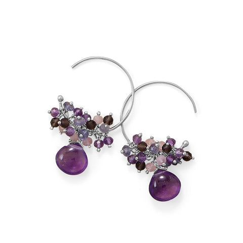 Amethyst, Multi Stone Beaded Wire Silver Earring