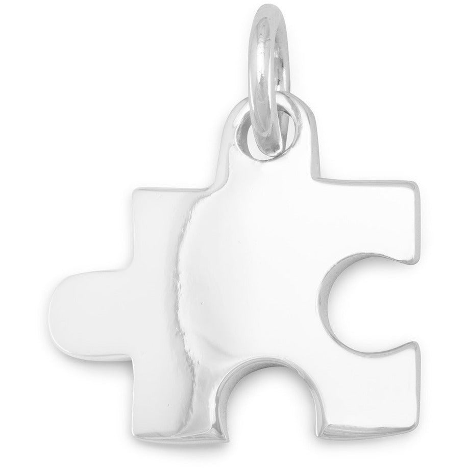 Rhodium Plated Puzzle Piece Pendant