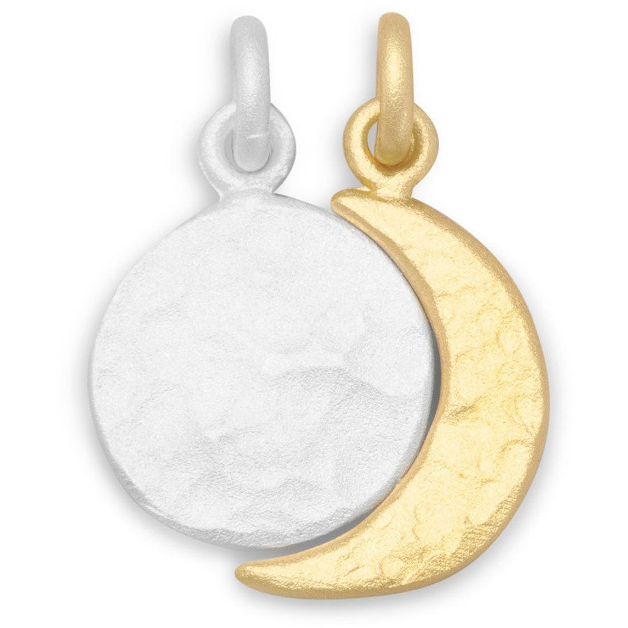 Two Tone Full Moon and Crescent Moon Charm Set