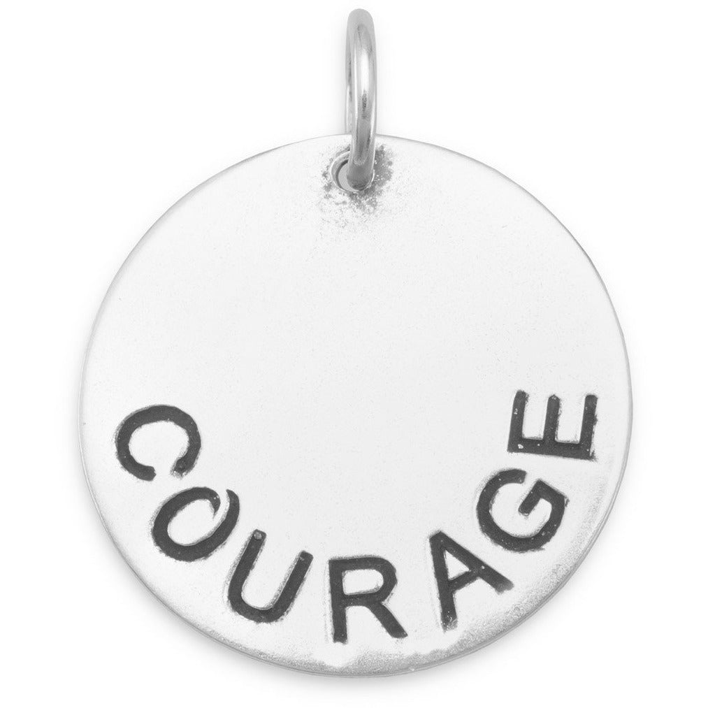 "Oxidized ""COURAGE"" Pendant"