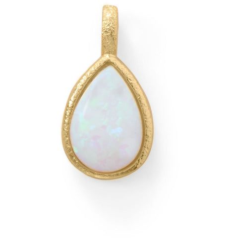 14 Karat Gold Plated Textured Pear Pendant with Synthetic Opal
