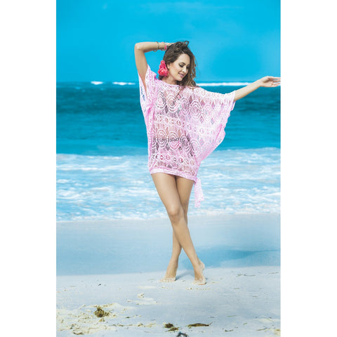 Crochet Cover-up / Beach Dress / Top - Pink - Charmed Costumes