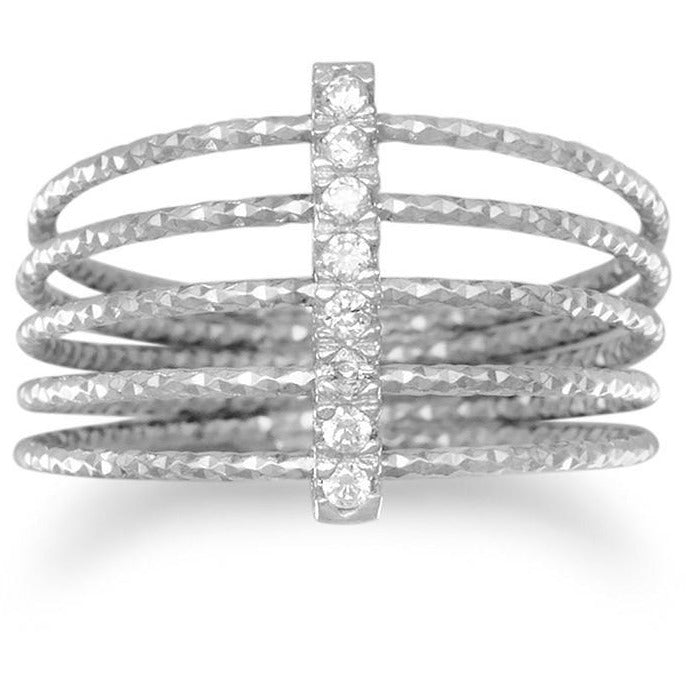 Rhodium Plated Multirow Twisted Wire Ring with CZ Bar