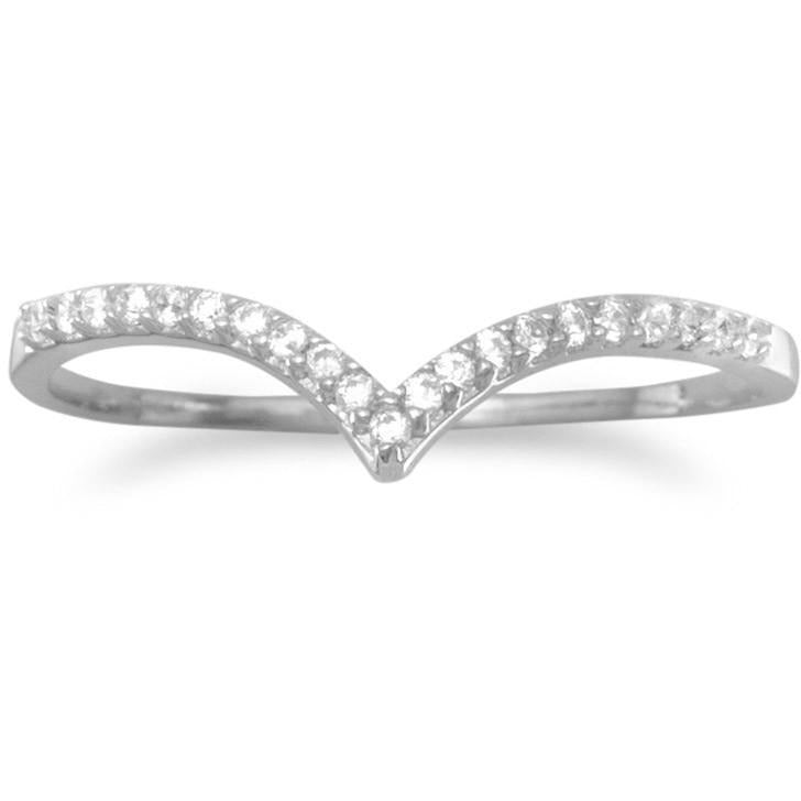 "Rhodium Plated CZ ""V"" Ring"