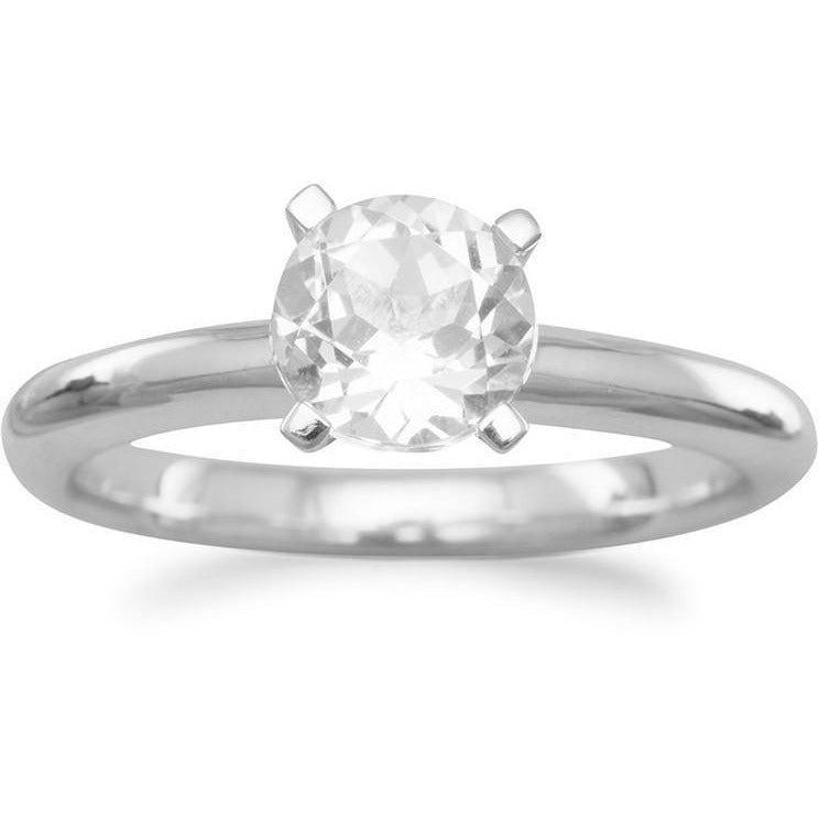 Rhodium Plated White Topaz Solitaire Ring
