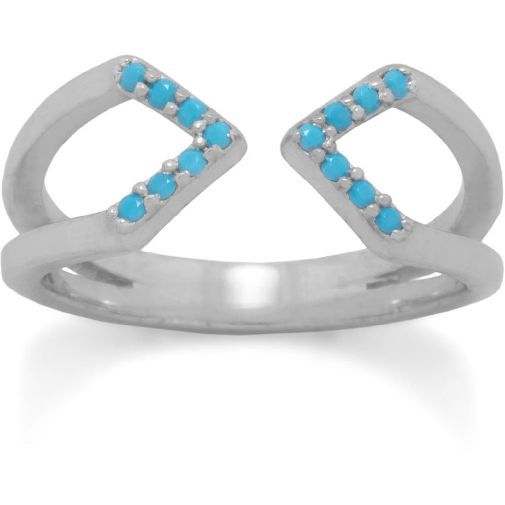 Rhodium Plated Nano Turquoise Split Ring