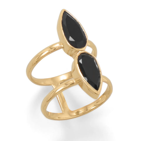 Gold Plated Double Pear Onyx Ring