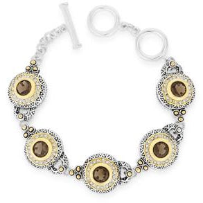 Two Tone Topaz Toggle Bracelet With Clear Cubic Zirconia - Charmed Costumes