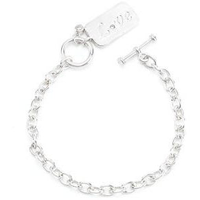 Silvertone Finish Love Charm Bracelet - Charmed Costumes