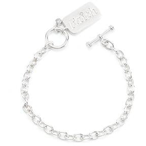 Silvertone Finish Faith Charm Bracelet - Charmed Costumes