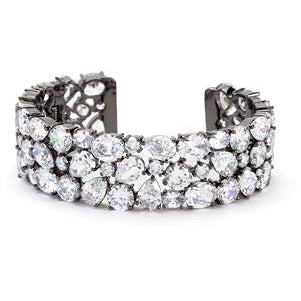 Bejeweled Cubic Zirconia Cuff Black Tone Bracelet - Charmed Costumes