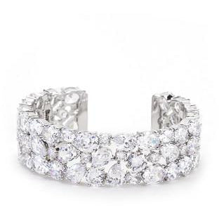 Bejeweled Cubic Zirconia Cuff Bracelet - Charmed Costumes