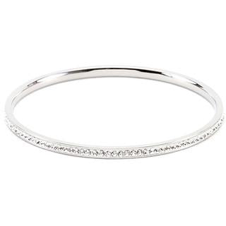 Simple Silvertone Finish Crystal Bangle Bracelet - Charmed Costumes