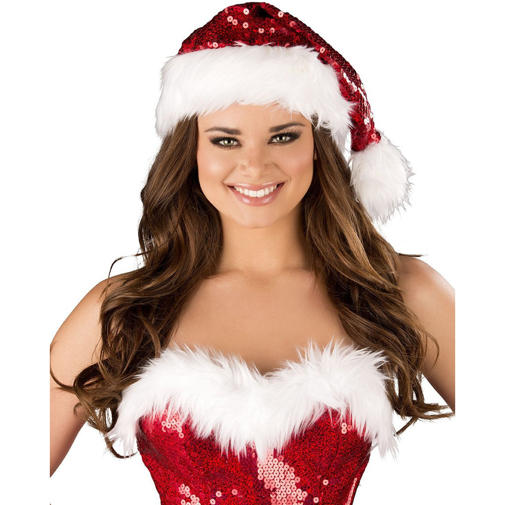 Fur Trimmed Sequin Christmas Hat - Charmed Costumes