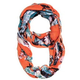 Orange Aria Floral Infinity Scarf - Charmed Costumes