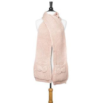 Pink Mona Knit Bow Pocket Scarf - Charmed Costumes