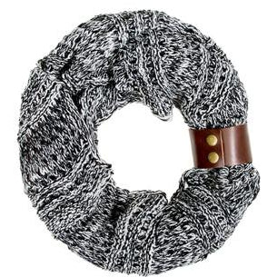 Black Jenna Knit Cowl Scarf - Charmed Costumes