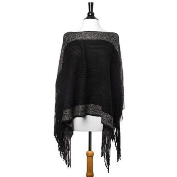 Black Lightweight Knit Fringe Poncho - Charmed Costumes