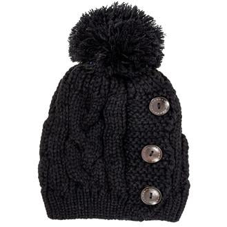 Black Paula Knitted Pom Beanie Hat - Charmed Costumes