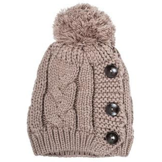 Taupe Michelle Knitted White Stitch Beanie - Charmed Costumes