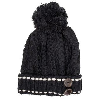Black Michelle Knitted White Stitch Beanie Hat - Charmed Costumes