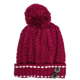 Burgundy Michelle Knitted White Stitch Beanie Hat - Charmed Costumes