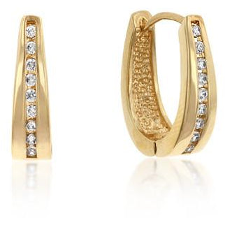 Elegant Goldtone Finish Cubic Zirconia Hoop Earrings - Charmed Costumes