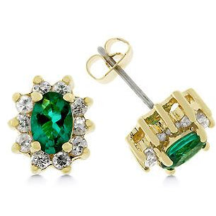 Emerald Flower Stud Earrings - Charmed Costumes
