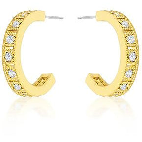 Roma Goldtone Finish Crystal Hoop Earrings - Charmed Costumes