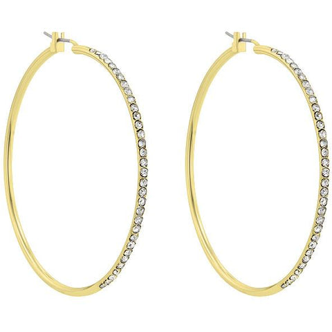 2 Inch Gold Crystal Hoop Earrings - Charmed Costumes