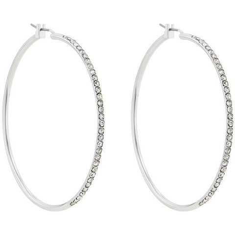 2 Inch Silvertone Finish Cubic Zirconia Hoop Earrings - Charmed Costumes