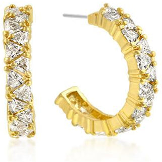 Trillion Cut Cubic Zirconia Hoop Earrings Goldtone Finish - Charmed Costumes