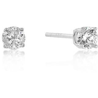 4mm Round Cut Cubic Zirconia Studs Sterling Silver Earrings - Charmed Costumes