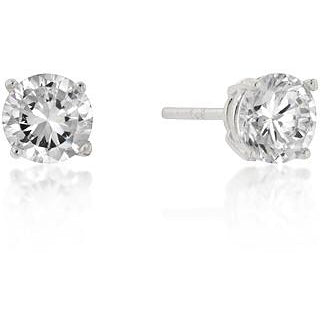 6mm Sterling Round Cut Cubic Zirconia Studs Silver Earrings - Charmed Costumes
