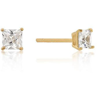 4mm Princess Cut Cubic Zirconia Studs Gold Plated Sterling Silver Earrings - Charmed Costumes