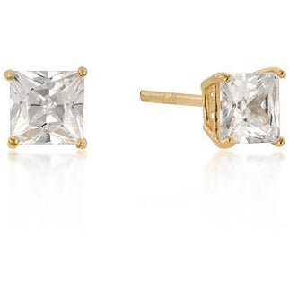 5mm Princess Cut Studs Gold Plated Silver Earrings - Charmed Costumes