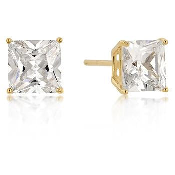 7mm New Sterling Round Cut Cubic Zirconia Studs Gold Earrings - Charmed Costumes