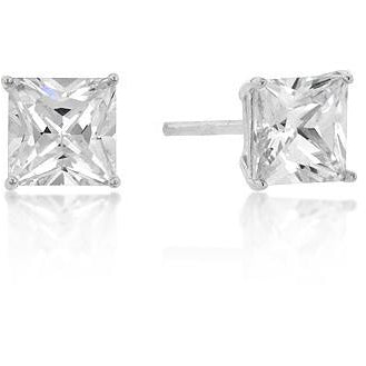 6mm Princess Cut Cubic Zirconia Studs Silver Earrings - Charmed Costumes