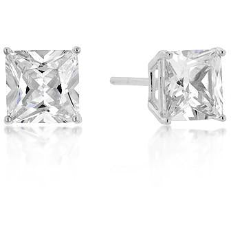 7mm New Sterling Princess Cut Cubic Zirconia Studs Silver - Charmed Costumes