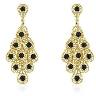 Onyx Filigree Chandelier Earrings - Charmed Costumes