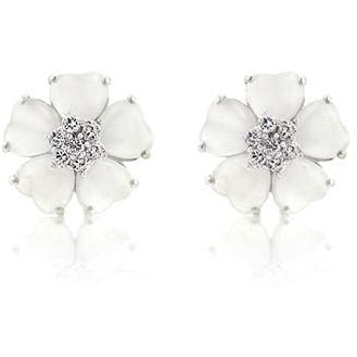 White Flower Nouveau Earrings - Charmed Costumes