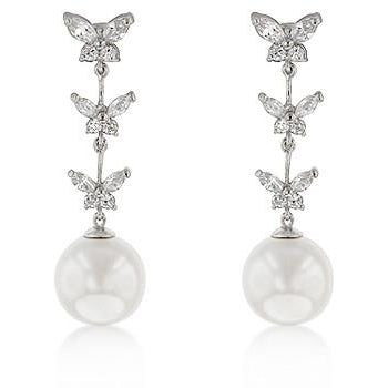 Butterfly Pearl Dangle Earrings - Charmed Costumes