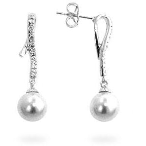 Pearl Cubic  Zirconia Dangle Earrings - Charmed Costumes