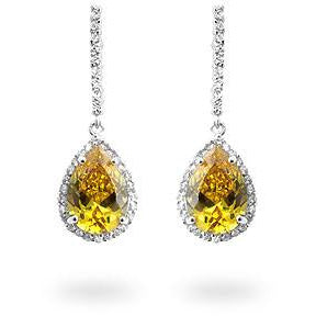 Canary Cubic Zirconia Drop Earrings - Charmed Costumes