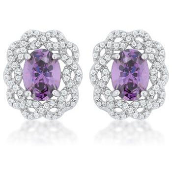 Amethyst Oval Stud Earrings - Charmed Costumes