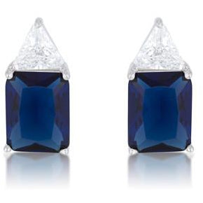 Classic Sapphire Cubic Zirconia Sterling Silver Stud Earrings - Charmed Costumes