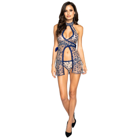Floral Embroidery Wrap Around Baby Doll with Panty