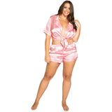 LOVE Satin Pajama Set. Includes Collared Tie Top & Shorts
