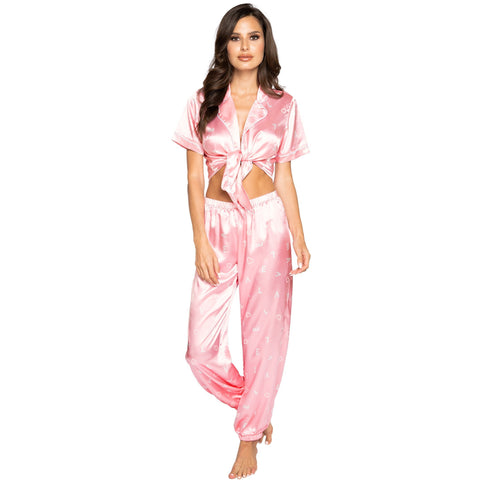 LOVE Satin Pajama Set. Includes Collared Tie Top & Pants