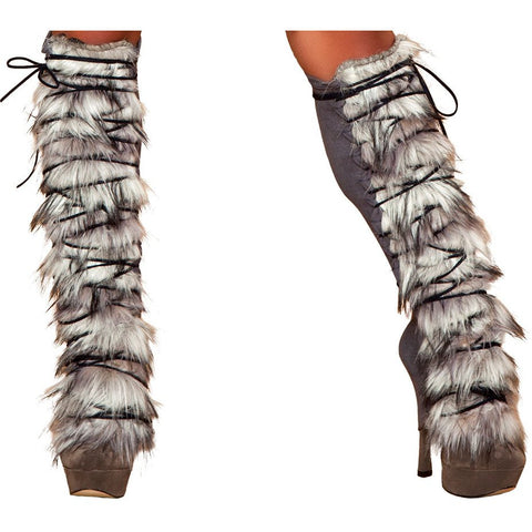 Fur/Suede Leg Warmer with Lace-up - Charmed Costumes